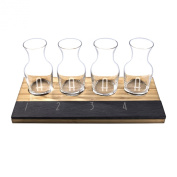 Cathy's Concepts Personalised Bamboo & Slate Wine Tasting Flight, Letter A, Natural/Slate