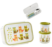 Sugarbooger Divided Lunch Box, (2) Small Storage Containers, and Silverware-Fox