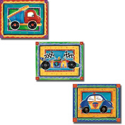 Dump Truck, Race Car, & Police Car by Alison M Jerry 3-pc Stretched Canvas Set of Children's Art