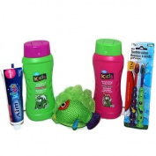 Kids Bath Travel Gift Set Toothbrush Toothpaste Shampoo Conditioner Shower Tub Body Wash Gel Fish Scrubby Sponge Bundle