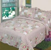 Fancy Collection 3pc Bedspread Bed Cover Pink Beige Green Flowers