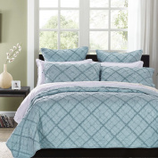 Diamond Applique Luxury Pure Cotton Quilt By Calla Angel, Queen, Pacific Blue