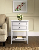 Altra Furniture Franklin Accent Table with Two Drawers, White