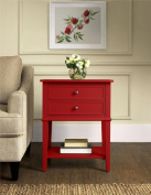 Altra Furniture Franklin Accent Table with Two Drawers, Red