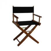 Casual Home Extra-Wide Premium American Oak Directors Chair with Mission Oak Frame and Black Cover, 46cm