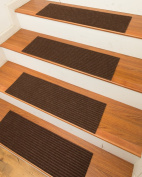 NaturalAreaRugs Halton Carpet Stair Treads with Peel and Stick Strips Rug (Set of 13), 23cm x 70cm , Chocolate
