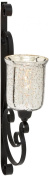 Deco 79 Metal Glass Wall Candle Sconce, 33cm by 80cm , Silver