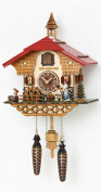Quartz Cuckoo Clock Black Forest house with moving beer drinker and mill wheel, with music, incl. batteries TU 4215 QM
