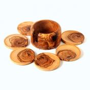 Hand Carved Wooden Coaster Set and Holder/ Handmade Olive Wood Coaster Set of 6 and Holder, Round Coaster Set, Handcrafted Olive Wood 6 Coasters