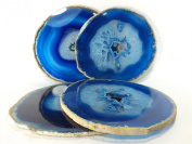 Agate Coaster Blue Colour 8.9cm - 10cm Natural Beautiful Blue Crystal Gemstone Agate Coasters Gift Set of 4 with Feet