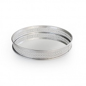 American Atelier Round Mirror Tray, 15 x 38cm x 5.7cm , Silver