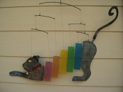 Large Rainbow Kittie Cat Metal and Glass Mobile