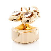 24k Gold Plated Baby Shoes Music Box Made with Genuine Matashi Crystals