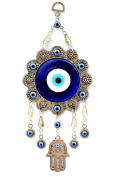 Blue Evil Eye with Hamsa Hand Protection Hanging Ornament (With a Betterdecor Pounch)-006