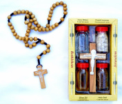 Set Water-oil-earth-incense-olive Wood Cross & Olive Wood Rosary Jerusalem Holyland