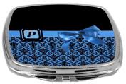 Rikki Knight Letter-P Monogram Damask Bow Design Compact Mirror, Blue, 60ml