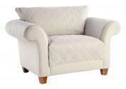 Tailor Fit Diamond Quilted Microsuede Machine Washable Furniture Love Seat Protector, Creamwear