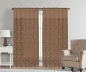 Artistic Linen Abbey Lace of Rod Pocket with Valance, 140cm x 230cm , Taupe