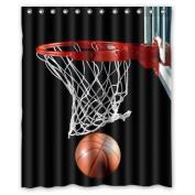 Custom Basketball Waterproof Polyester Fabric 150cm (w) x 180cm (h) Shower Curtain and Hooks