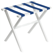 White Straight Leg Luggage Rack with 4 Bright Blue Straps