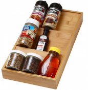 YBM HOME & KITCHEN In-Drawer Bamboo 3 Tier Spice Rack Drawer Tray - Spice Storage / Organisation #316