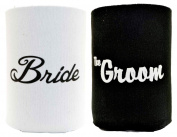 Bride and Groom Wedding Gift 2 Pack Can Coolies Drink Coolers Black and White