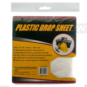 Wennow Reusable Plastic Drop Cloth 2.7m x 3.7m Cover & Protect Floor, Carpet and Furniture