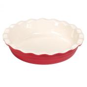 Baker's Advantage Ceramic Deep Pie Dish, 24cm , Red