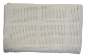 EHC 80 x 110 cm Small Snugly and Soft 1 Cotton Cellular Baby Blanket for Pram/Cot/Crib or Mosses Basket, Cream