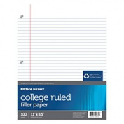 Office Depot(R) Brand 30% Recycled College-Ruled Notebook Filler Paper, 3-Hole Punched, 28cm . x 22cm ., 100 Sheets