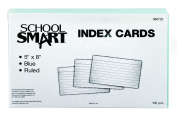 School Smart Heavyweight Ruled Index Cards - 13cm x 20cm - Pack of 100 - Blue