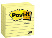Post-it Notes, 10cm x 10cm , Canary Yellow, Lined, 300-Sheets/Pad, 2-Pads/Pack