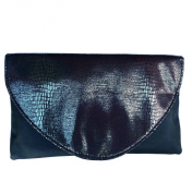 Avon Iridescent Soft Shell Clutch Bag ~ Envelope Style ~ Black with snakeskin pattern