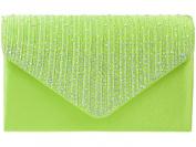 New Lime Green Rainbow Diamante Satin Envelope Clutch Evening Bag Handbag & Shoulder Chain