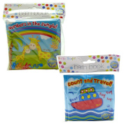 Pack of 2 - One Of Each Jungle/Travel Baby Bath Time Book - Colourful and Waterproof Soft Body Book