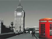 Reversible Snuggle Sherpa Throw London City / Big Ben 130x160, Sofa Bed Blanket