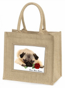 Fawn Pug with Rose 'Love You Mum' Large Natural Jute Shopping Bag Birthday Gift