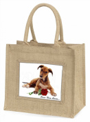 Lurcher with Rose 'Love You Mum' Large Natural Jute Shopping Bag Birthday Gift