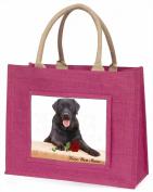Black Lab with Rose 'Love You Mum' Large Pink Jute Shopping Bag Animal Gift