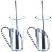 Promobo -Set Duo Luxury Cocktail Glass Coffee Cup with Stainless Steel Irish Coffee Drink Cappuccino Royal Crest