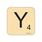 """""""Y"""" Scrabble Letter NOVELTY Coaster - Fun Word Games Themed Design"""