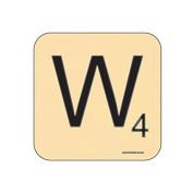 """W"" Scrabble Letter NOVELTY Coaster - Fun Word Games Themed Design"