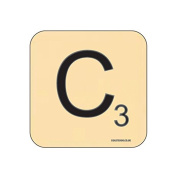 """C"" Scrabble Letter NOVELTY Coaster - Fun Word Games Themed Design"