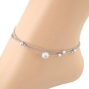 Tonsee Frosted Double Chain Ball Anklet Bracelets Beach Foot Jewellery
