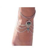 Tonsee Girls' Turquoise Anklet Beach Barefoot Tassel Chain