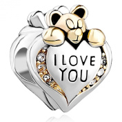 Pugster Heart I Love You Bear Clear Birthstone Crystal Silver 925 Charms Sale Cheap Bead fit Pandora Chamilia Bracelet Gift