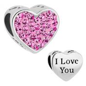 925 Sterling Silver I LOVE YOU Pink Crystal Heart Charms Rhinestone Bead Fits Pandora Charm Bracelet