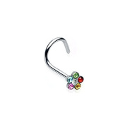 Nose Piercing Helix Flower Punk Jewellery 316L Surgical Steel Colour - Rainbow