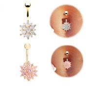 Chnli Fashion Women Sexy Gold Pleated Crystal Belly Navel Ring Rhinestone Flower Decoration Body Piercing Jewellery Belly Bar Button Stud Set