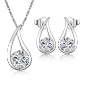 """New Arrival """"Charming"""" 925 Women's Crystal Solid Silver Attractive Simulated Diamond Jewellery Sets Pendant Necklace Chain of 46 cm +Matching Stud Earrings - Quality Gift For Wedding Bridesmaid Party"""